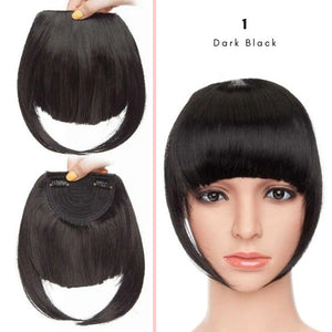Clip On thick blunt bangs in synthetic hair in dark black