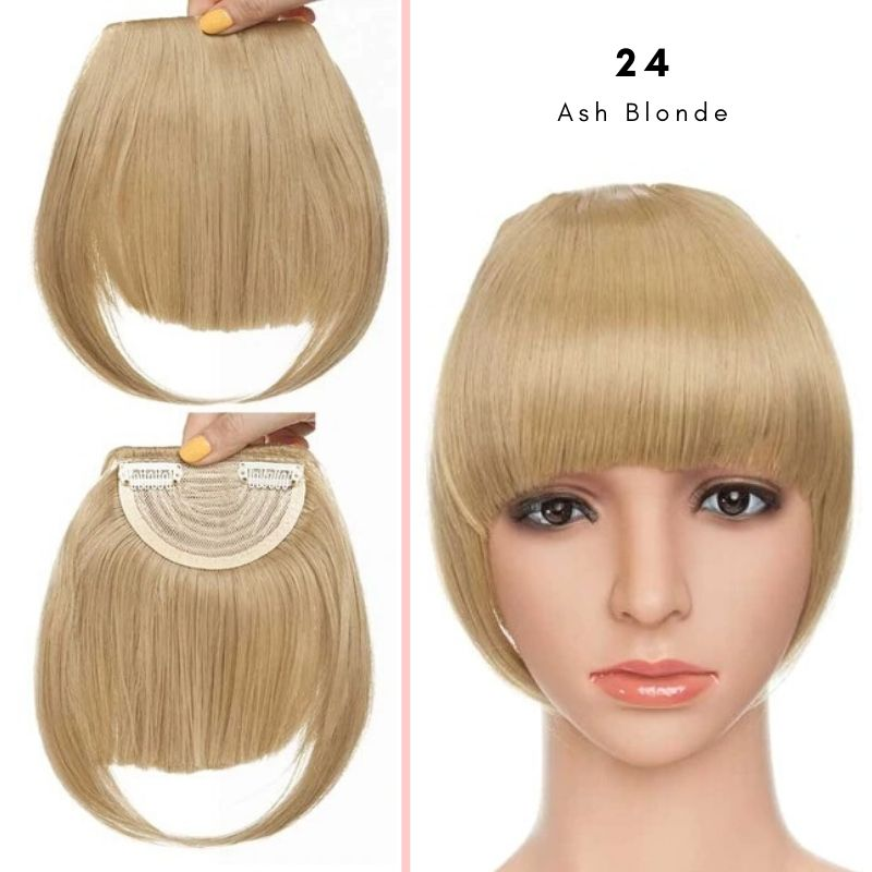 Clip On thick blunt bangs in synthetic hair in ash blonde