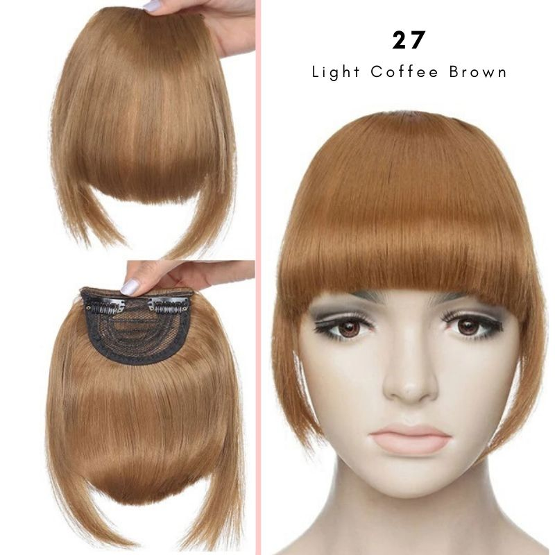 Clip On thick blunt bangs in synthetic hair in light coffee brown