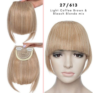 Clip On thick blunt bangs in synthetic hair in light coffee brown and bleach blonde mix