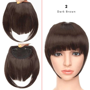 Clip On thick blunt bangs in synthetic hair in dark brown