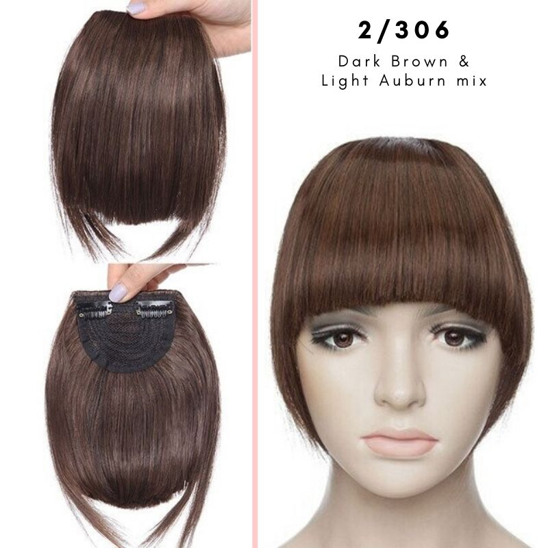 Clip On thick blunt bangs in synthetic hair in dark brown and light auburn mix