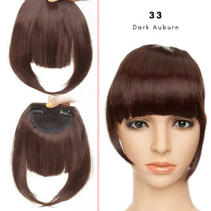 Clip On thick blunt bangs in synthetic hair in dark auburn