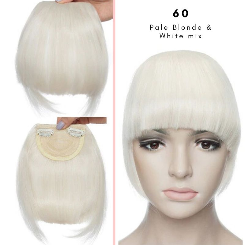 Clip On thick blunt bangs in synthetic hair in pale blonde and white mix