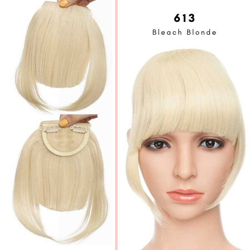 Clip On thick blunt bangs in synthetic hair in bleach blonde