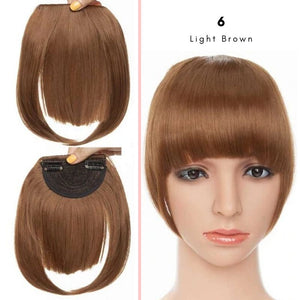 Clip On thick blunt bangs in synthetic hair in light brown