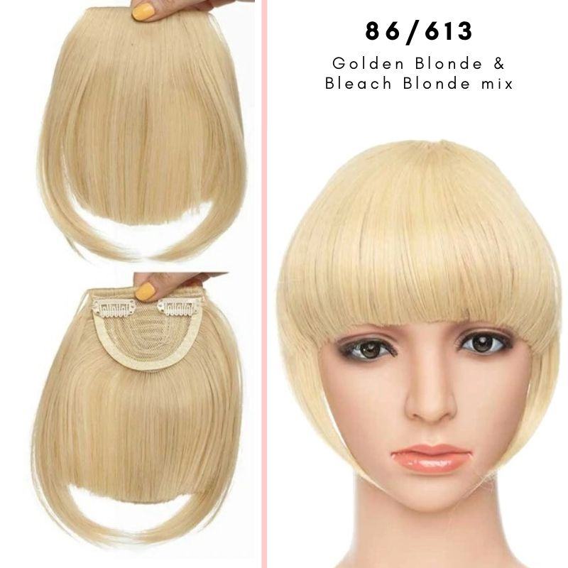 Clip On thick blunt bangs in synthetic hair in golden blonde and bleach blonde mix