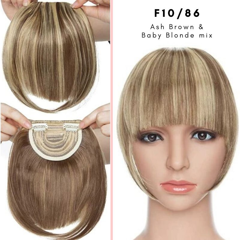 Clip On thick blunt bangs in synthetic hair in ash brown and baby blonde mix