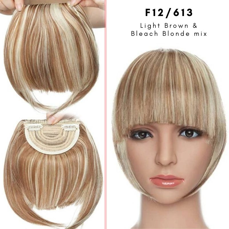 Clip On thick blunt bangs in synthetic hair in light blonde and bleach blonde mix