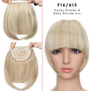 Clip On thick blunt bangs in synthetic hair in sandy blonde and baby blonde mix