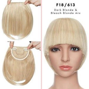 Clip On thick blunt bangs in synthetic hair in dark blonde and bleach blonde mix