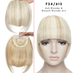 Clip On thick blunt bangs in synthetic hair in ash blonde and bleach blonde mix