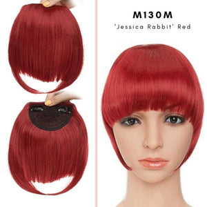 Clip On thick blunt bangs in synthetic hair in Jessica Rabbit red