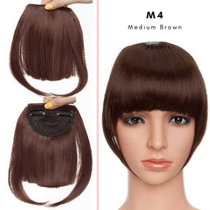 Clip On thick blunt bangs in synthetic hair in medium brown