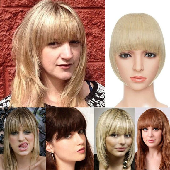 5 ladies with thick, blunt bangs and a mannequin sporting the clip ob blunt bang in golden blonde