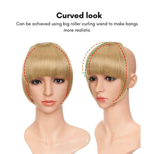 2 mannequin heads wearing the clip on blunt bang in golden blonde. Image shows the fake bang can be trained to curve naturally following the shape of the forehead, with use of a curling wand