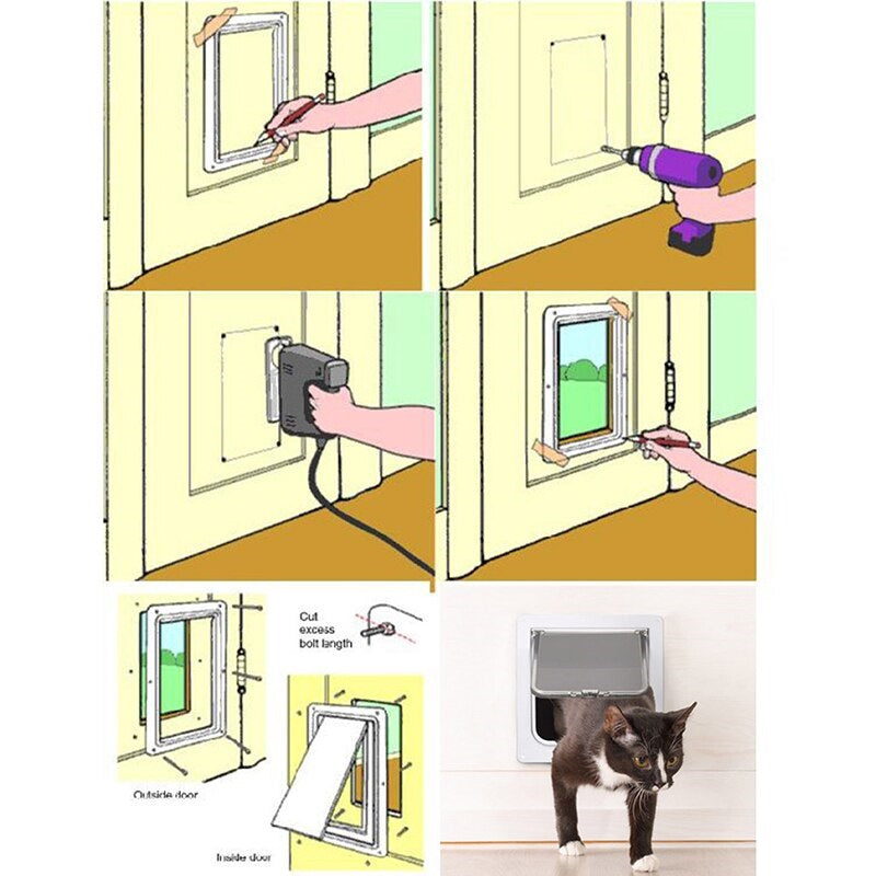 5 images demonstrating how to install the cat door, sixth image shows black cat going through the cat door