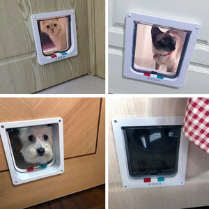 Four collage of photos showing two cats and one small dog looking though the cat door