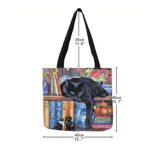 Cat Print Tote Bag for Women size