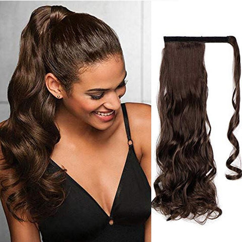 Woman wearing Clip In Ponytail Hair Extension in brown