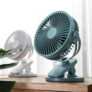Green and white air fan, electric fan, mini desk fan