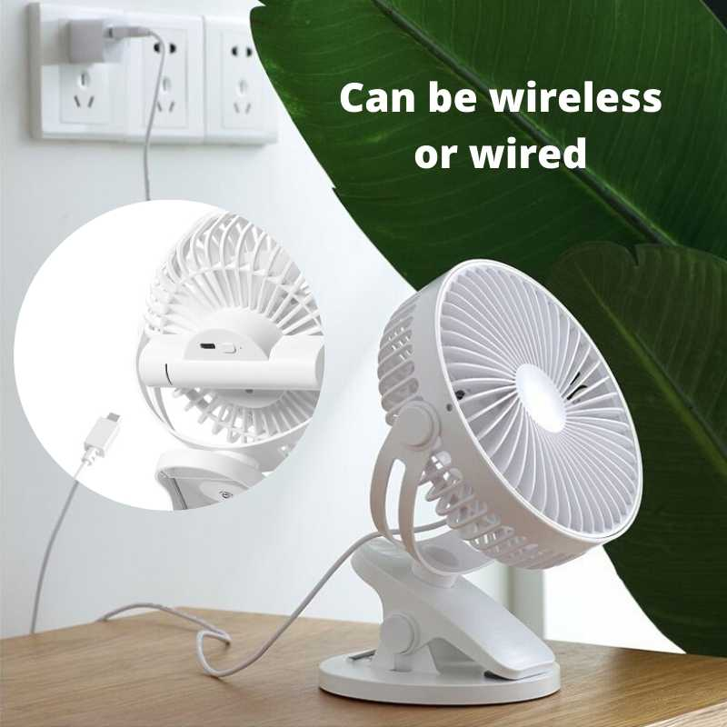 clip on fan be plugged to USB cord or charged and be wireless.