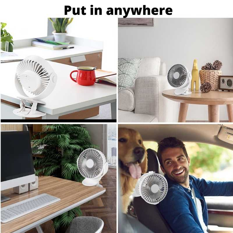 Bring and put the personal clip on fan anywhere - home desk, office desk, car, living room