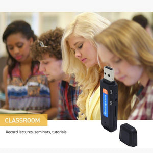 Discreet USB recorder in black against an image of students in a classrom
