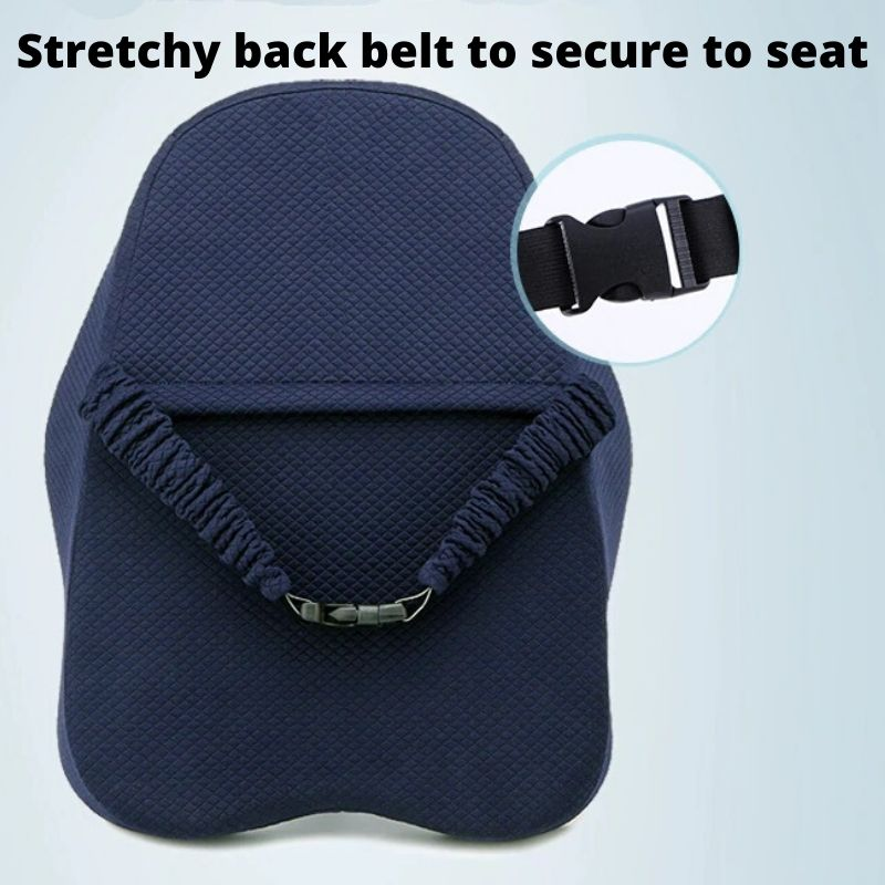 Ergonomic Lumbar and Back Support Cushion has a strap behind to secure to seats