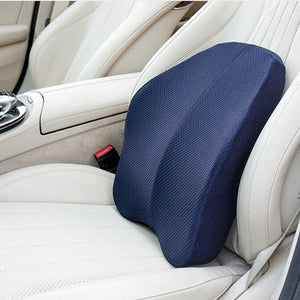 Ergonomic Lumbar and Back Support Cushion strapped to a car seat