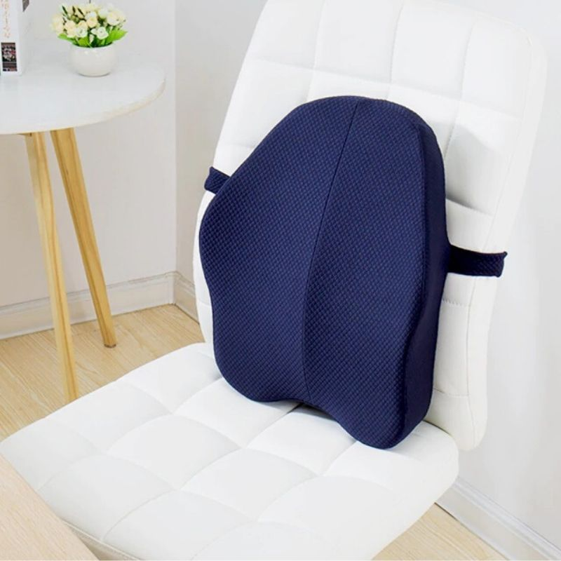 Ergonomic Lumbar and Back Support Cushion strapped to a white office chair