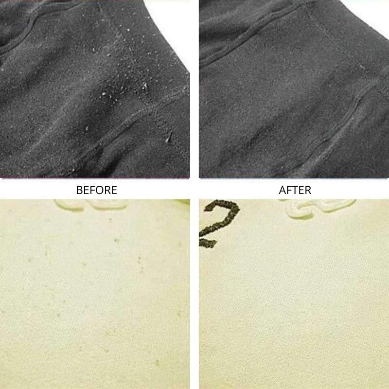 Before and after using the Fabric Shaver Lint Remover