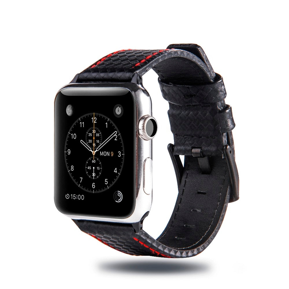 Leather band with carbon fiber effect compatible with Apple Watch. Elegant, luxurious and high quality.