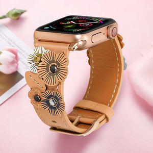 Handmade Leather Flower Burst Strap (Compatible with Apple Watch). Handmade leather strap with 3D flowers sewn on it. Very feminine, very interesting artisanal flower art on wrist.