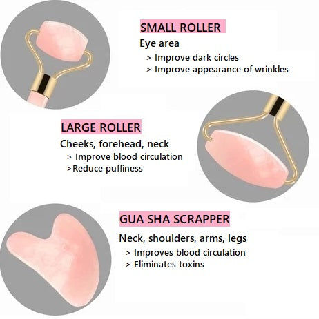 Glow-tiful™ Rose Quartz Face Roller and Gua Sha Scrapper