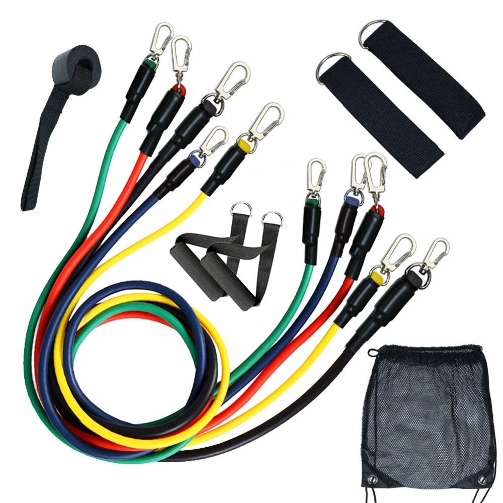 11pc resistance band set, 5 tension bands, 2 ankle straps, 1 door anchor, 2 foam handles and 1 dust storage bag