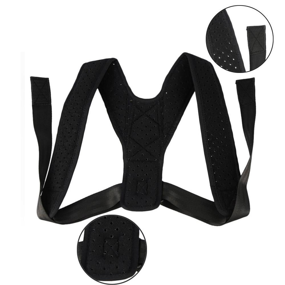 Close up showing the posture corrector's velcro and material with holes for breathability and comfort of use.