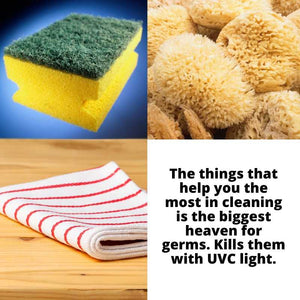 Sterilize the most unassuming but dirtiest items in your home - the kitchen sponge, kitchen towel and bath sponge with the UV sterilizer