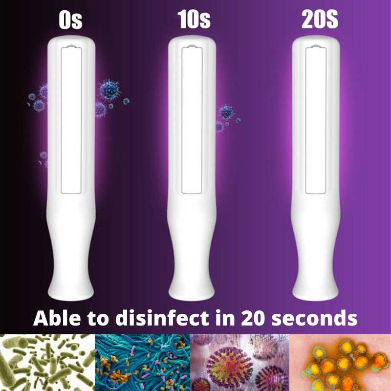 UV sanitizing wand disinfects in 20 seconds