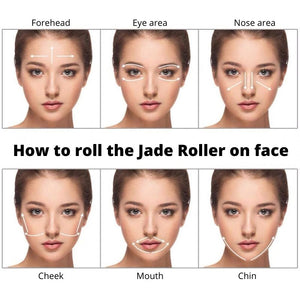 Rolling direction guide on model's face on various parts of her face
