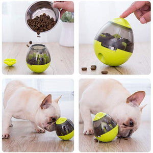 Four images showing how to pour food and secure the top of the Interactive Treat Dispenser, pitbull playing and eating treats from it