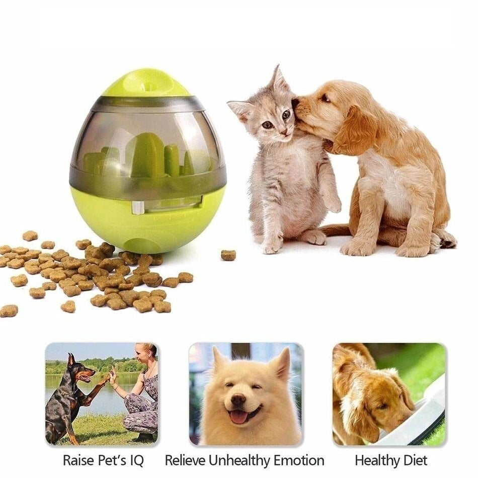Dog licking cat with image of Interactive Pet Treat Dispenser