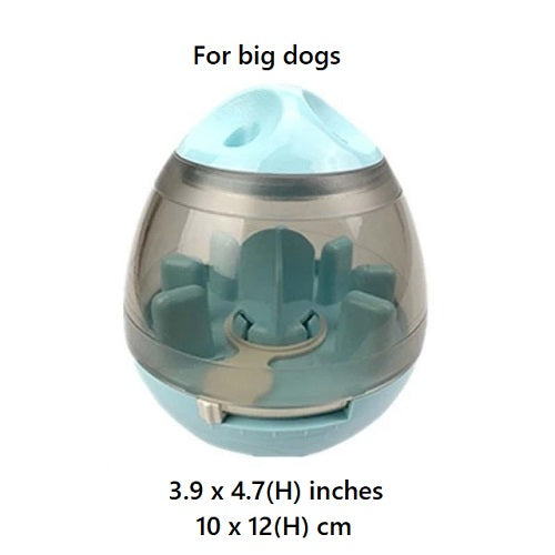 Blue colored Interactive Pet Treat Dispenser with size