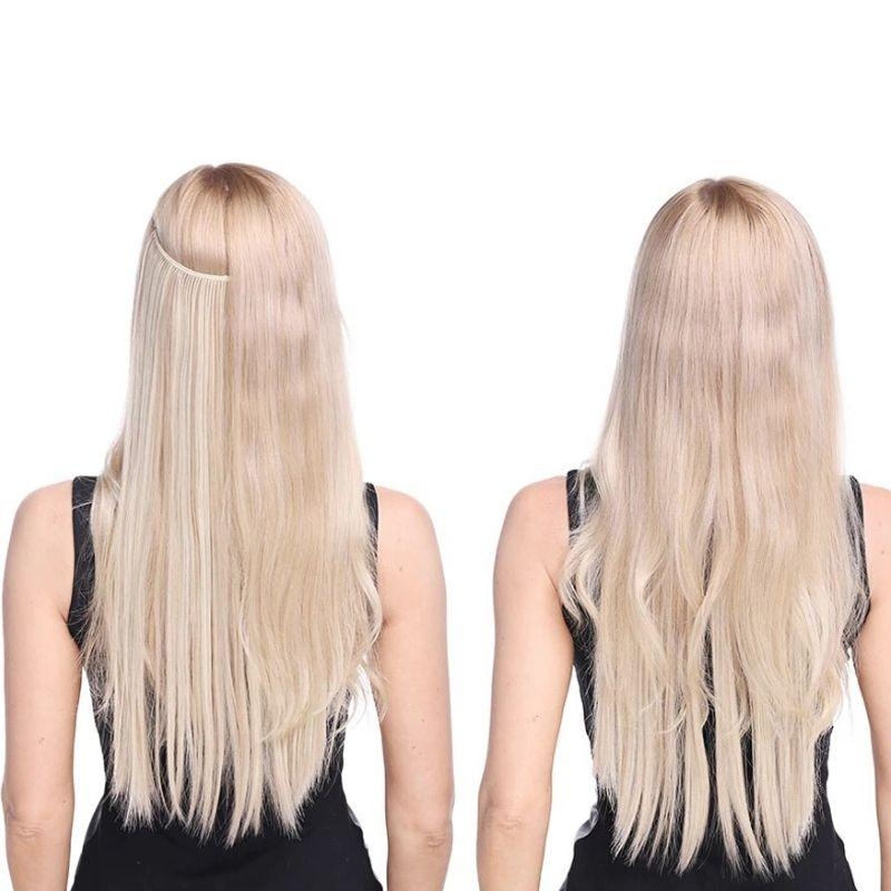 Model's back of head showing the before and after of wearing the invisible hair halo