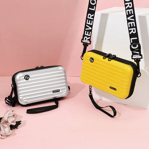 Silver and Yellow Mini Suitcase Shaped Crossbody Handbag & Clutch