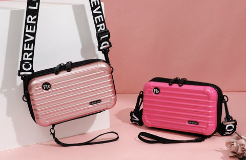 Pink and Metallic Pink Suitcase Shaped Crossbody Handbag & Clutch