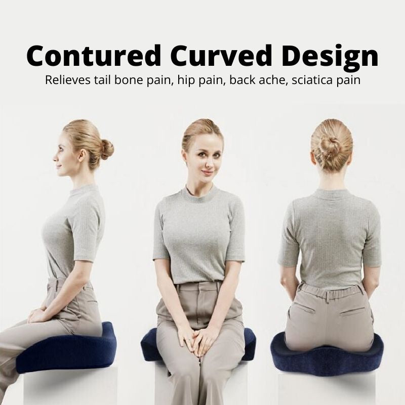 Woman sitting on the Orthopedic Coccyx Cushion - side view, front view and back view