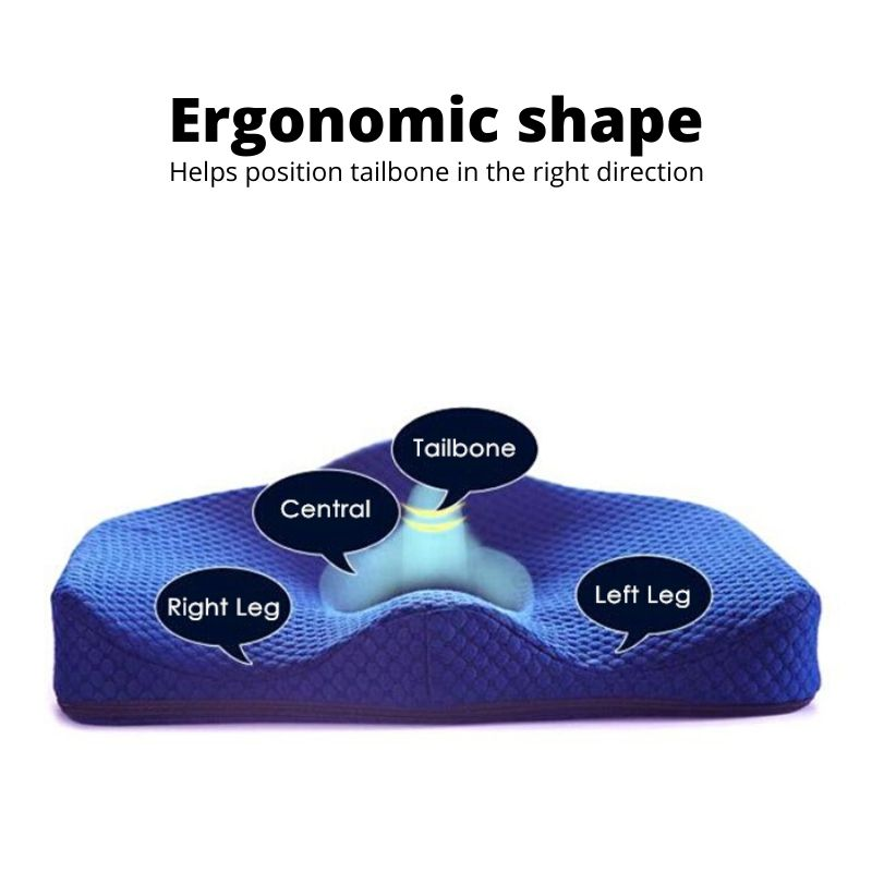 Close up view of coccyx cushion's curved ergonomic shape