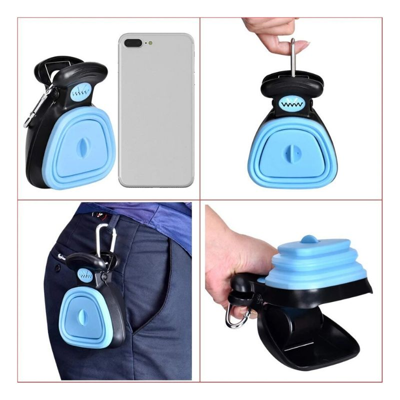 Blue hands free pooper scooper against an iPhone, a hand holding the carabiner clip, the pooper scooper clipped onto someone's pants and the jaw of the pooper scooper being held open