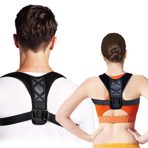 Man  and woman showing their back to the screen, wearing the unisex posture corrector by leBoosh!